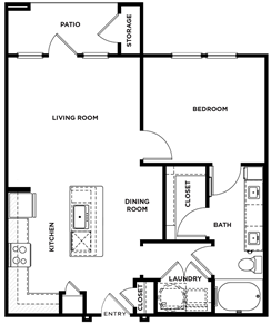 A1 - One Bedroom / One Bath - 750 Sq.Ft.*