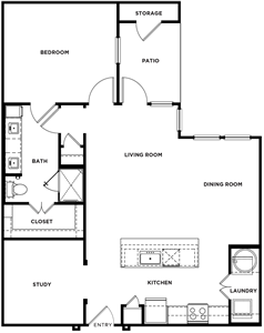 A2 - one Bedroom / One Bath - 972 Sq.Ft.*