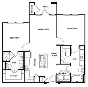 B1 - Two Bedroom / Two Bath - 1,000 Sq.Ft.*